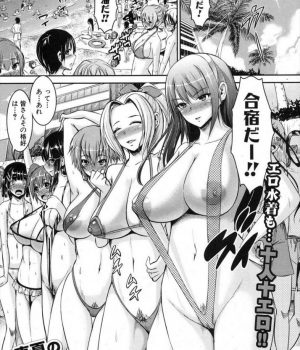 【エロ漫画】海辺のビーチで合宿のJK達が極小エロ水着で女教師と男をイカせる勝負が始まり逆ナンパで野外乱交!