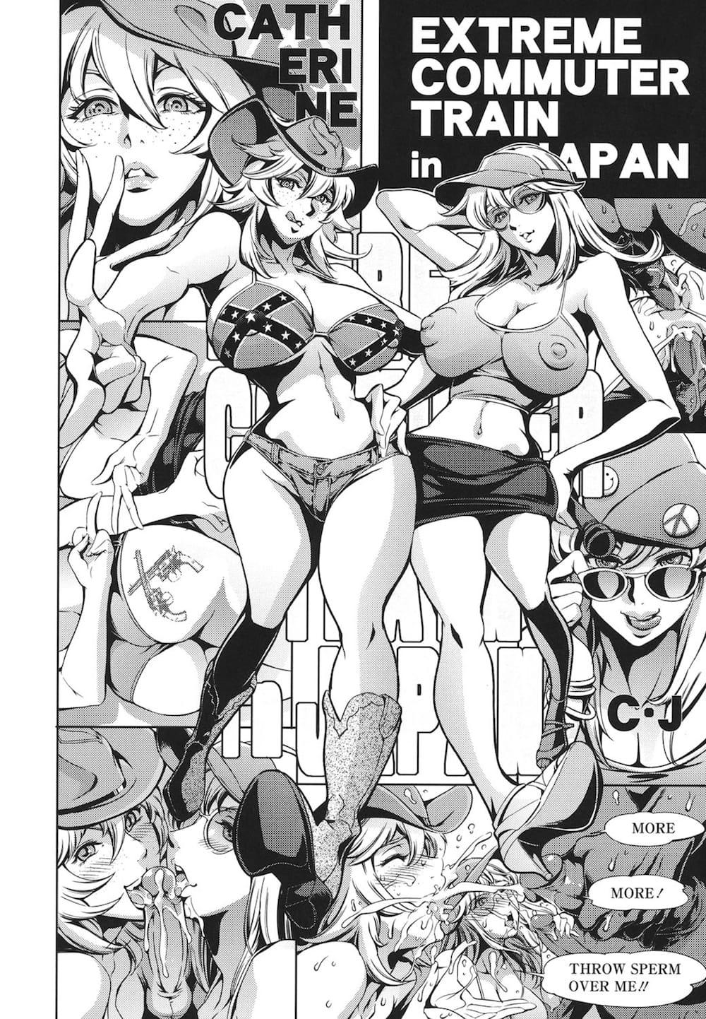 【エロ漫画】通勤電車をリポートするアメリカ娘が痴漢にマイクをプッシーにぶち込まれて輪姦されて日本男児のヘンタイ魂を体験!