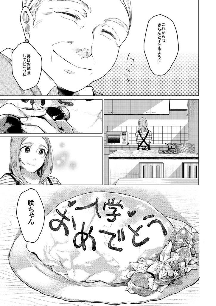 【エロ漫画】おじさんに毎日少しづつ処女マンを解された美少女が高校入学式の日に頭を押さえ付けられ無理やり中出しされる!