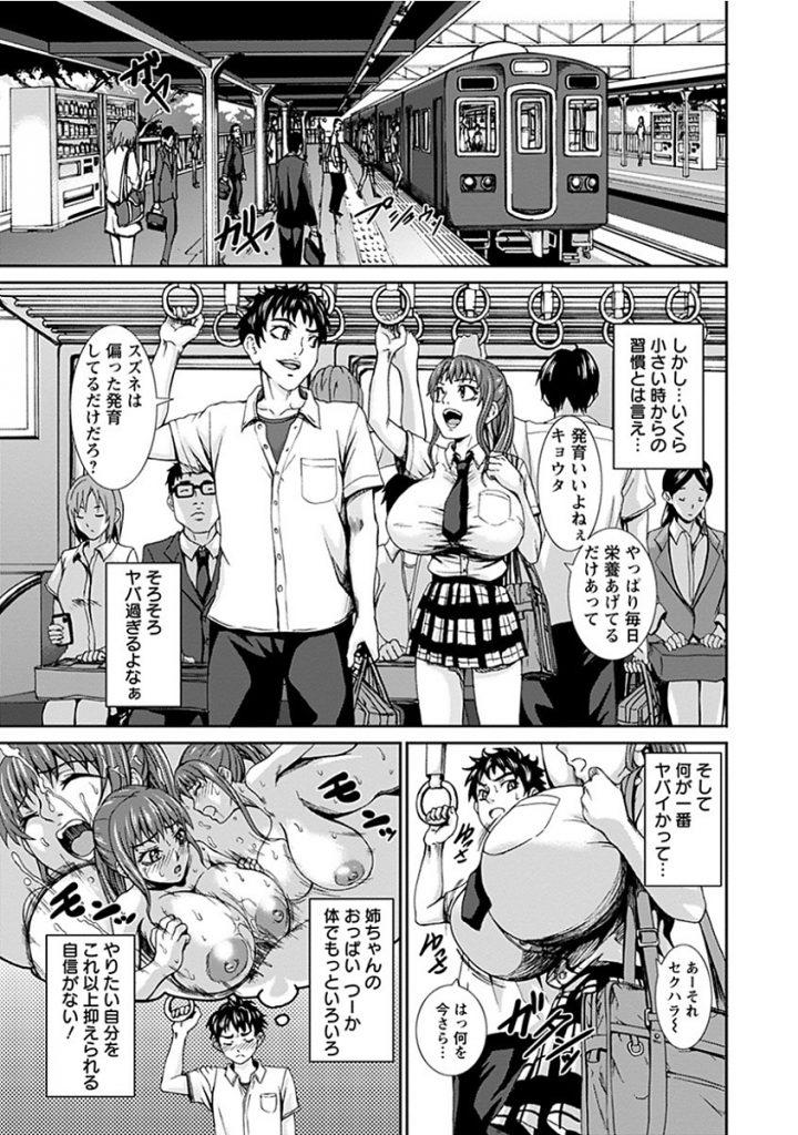 【エロ漫画】子供の頃からの習慣で姉の超巨乳を吸う弟が乳離れするが一緒にお風呂に入った事でデカパイズリで乳内射精!