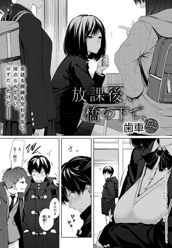 【エロ漫画】橋の下でエロ本を拾い読みしてる姿を同級生に見られる普段はクールなJKが興味津々のHに誘い即ハメ青姦初体験!